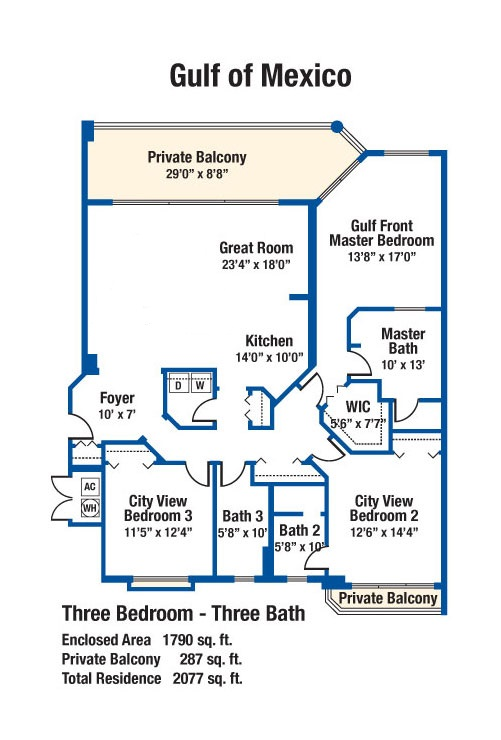 3 Bedroom Condo Floor Plans Silver Beach Towers